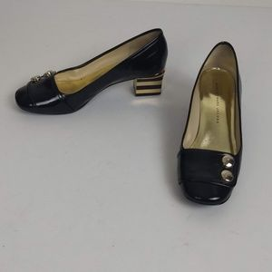 Marc Jacobs Leather Block Heeled Pumps 7.5